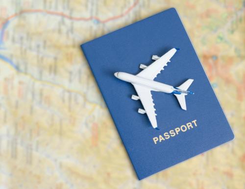 a passport on a map