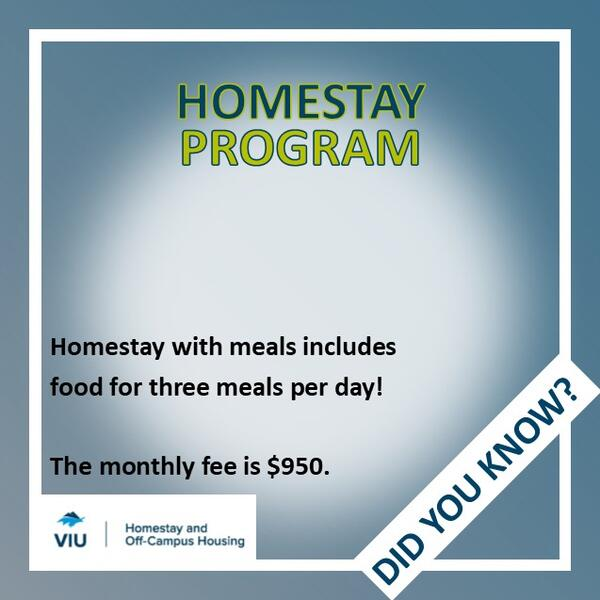 VIU Homestay Program with meals is $950 per month