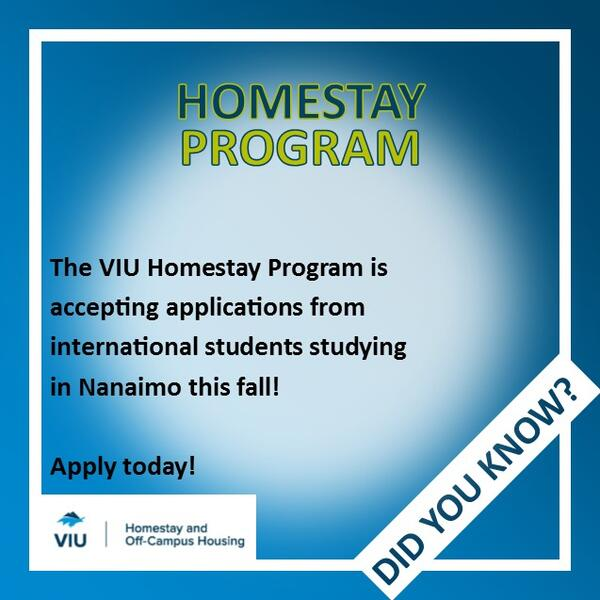 VIU Homestay Program is accepting applications for Fall 2020