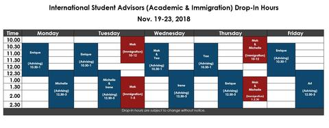 Advising Drop In Schedule