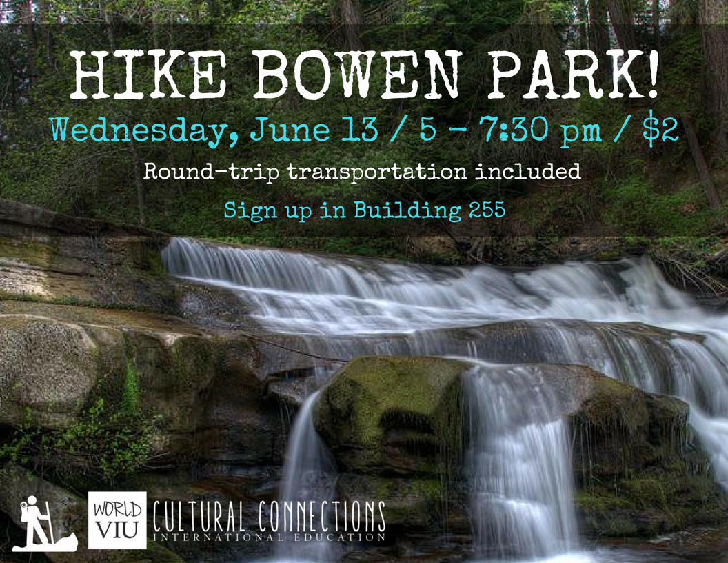 VIU Cultural Connections - Nanaimo's Top Local Hikes - Bowen Park - June 13, 2018
