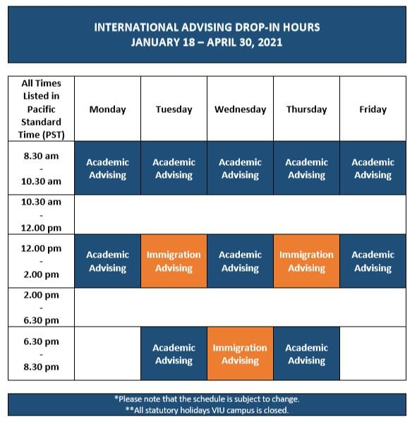 Advising Schedule January 18-April 30 2021