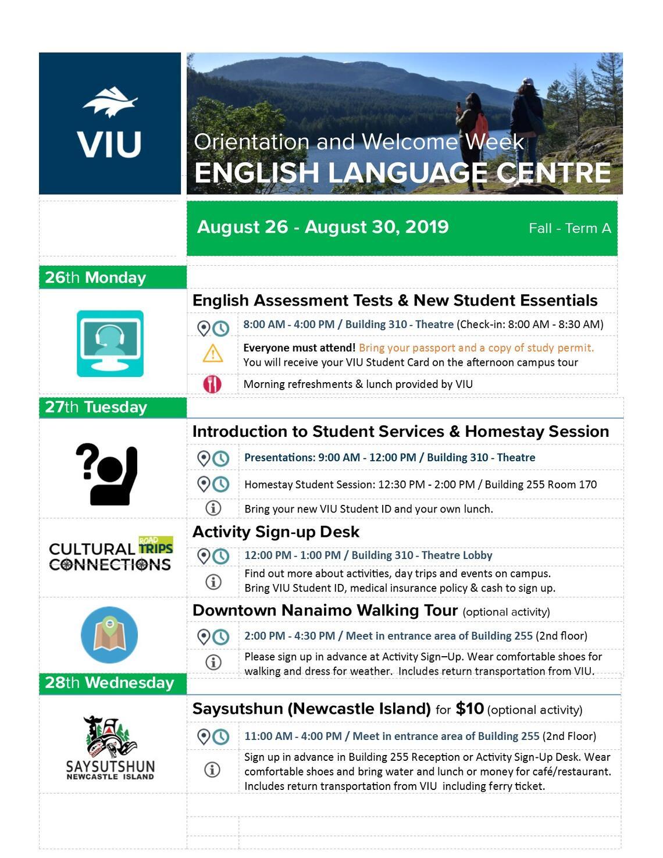 English Language Centre Orientation   International