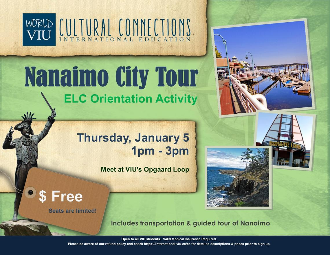 VIU, ELC, Orientation, Cultural Connections, City Tour, Nanaimo