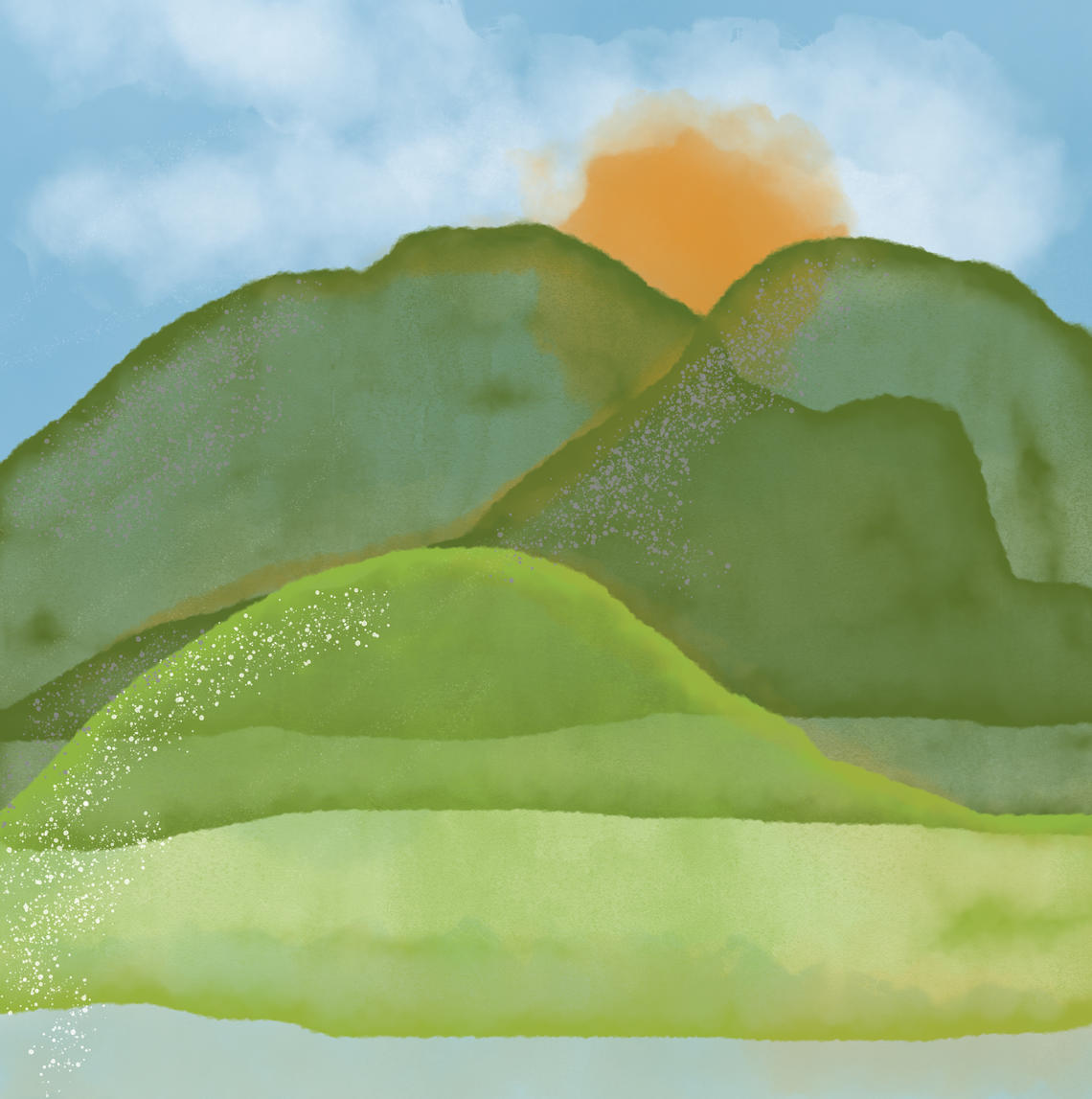 water colour style illustration of a mountain with a sunset