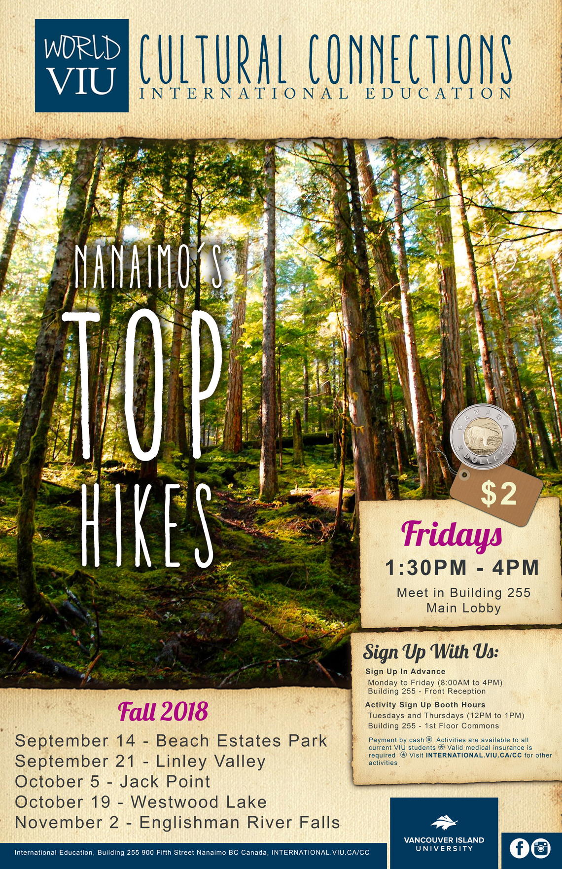 VIU Cultural Connections Top Hikes Poster Fall 2018 PNG