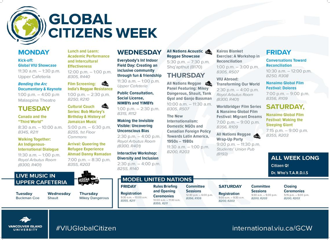 Global Citizens Week 2018 Schedule