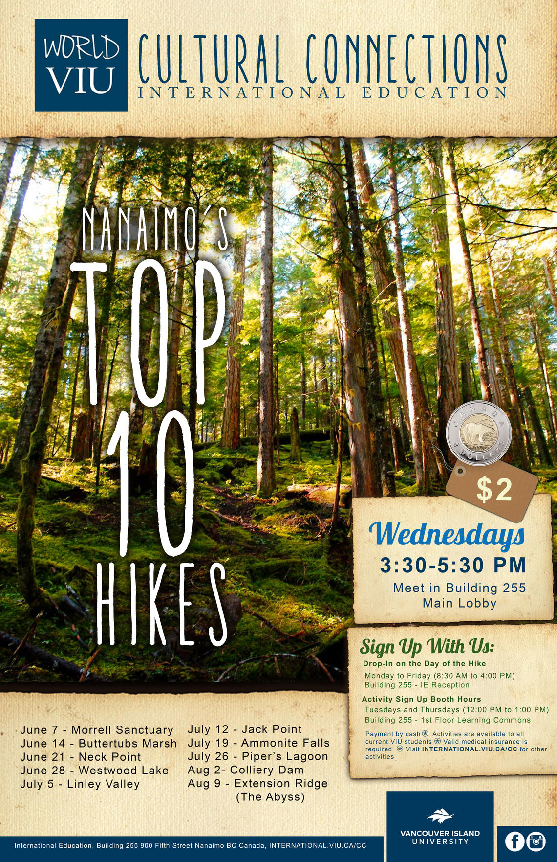 Nanaimo's Top Ten Hikes, Top Ten, Hiking Nanaimo, VIU, International Students, Activities, Student Life, Vancouver Island Univeristy